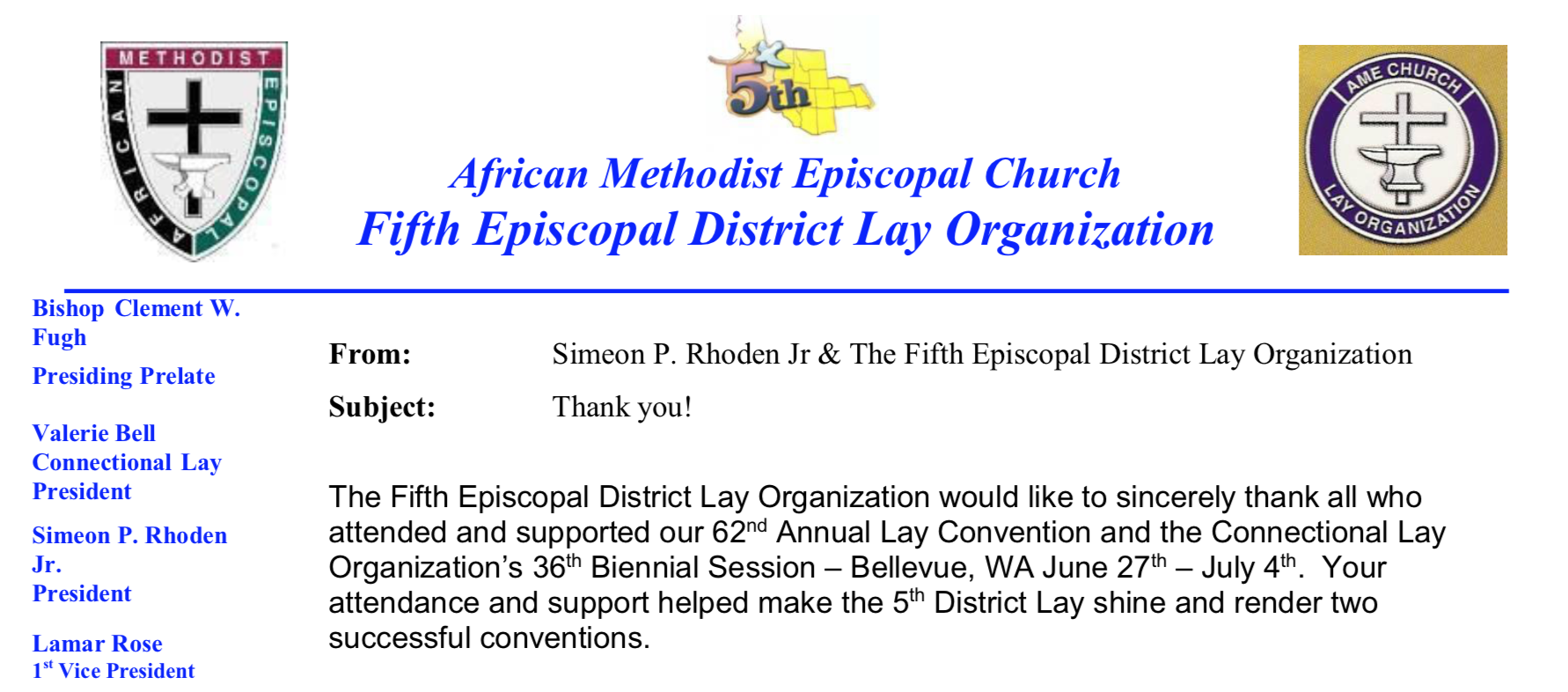 Fifth Episcopal District Lay Organization Of The African